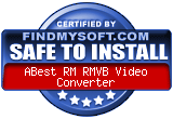 FindMySoft certifies that ABest RM RMVB Video Converter is SAFE TO INSTALL