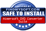 FindMySoft certifies that Aimersoft DVD Converter Suite is SAFE TO INSTALL