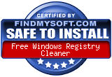FindMySoft certifies that Free Windows Registry Cleaner is SAFE TO INSTALL