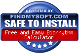 FindMySoft certifies that Free and Easy Biorhythm Calculator is SAFE TO INSTALL