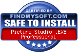FindMySoft certifies that Picture Studio .EXE Professional is SAFE TO INSTALL