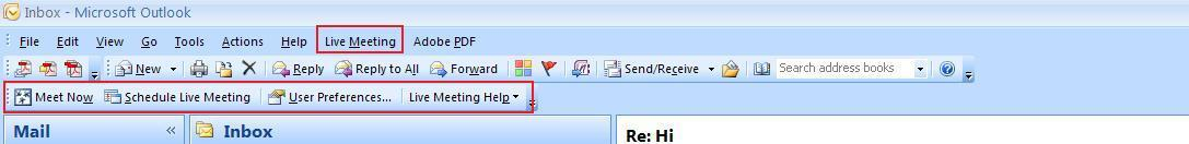 Livemeeting Menu on Office Outlook