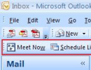 Livemeeting Menu on Office Outlook