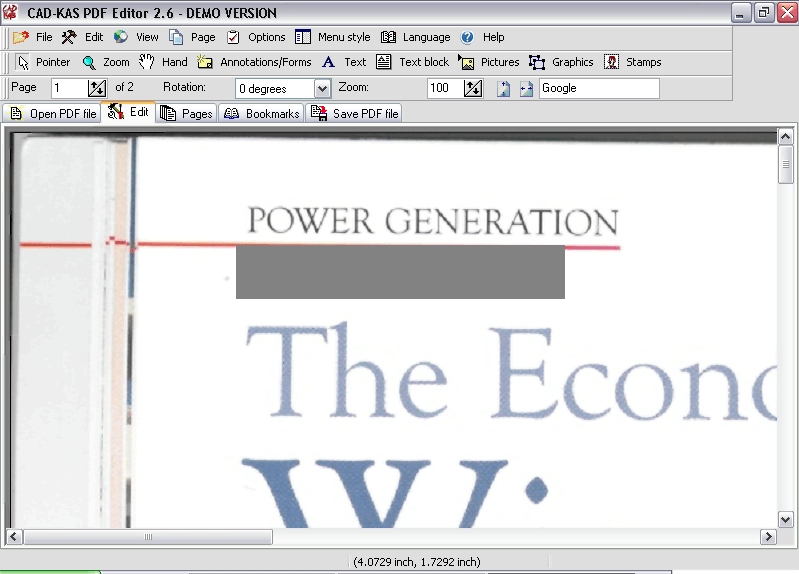 PDF EDit screen