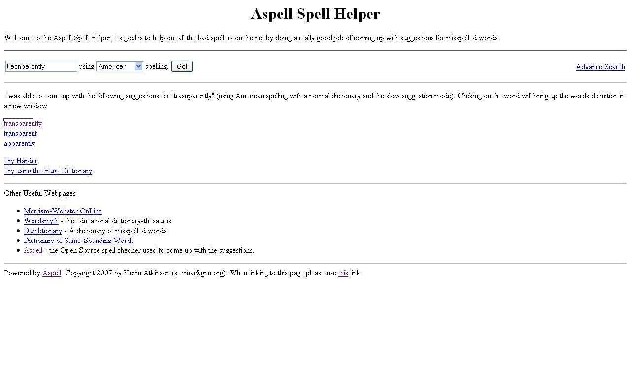 Aspell Website