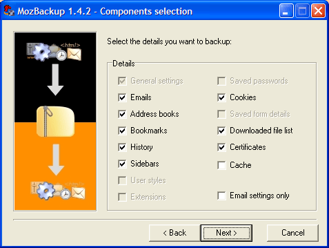 Components Selection window