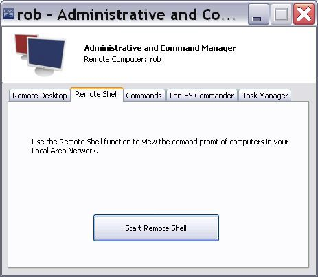 Administrative/Command / Remote Shell tab