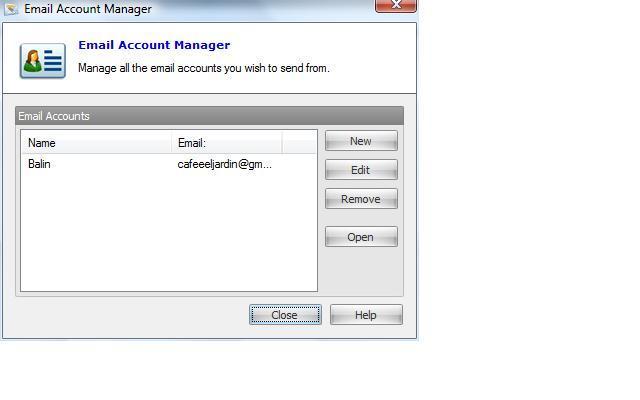 Email Account Menu