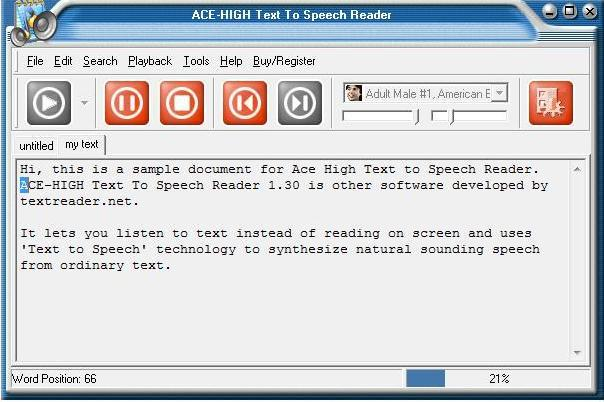 Ace High Text To Speech Reader Software Informer Screenshots