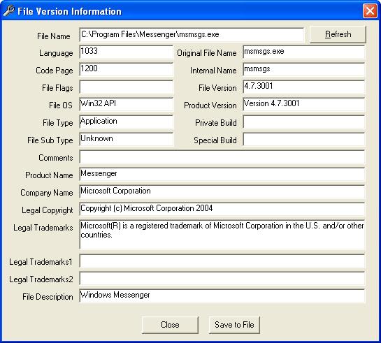 Informazioni sulla versione del file