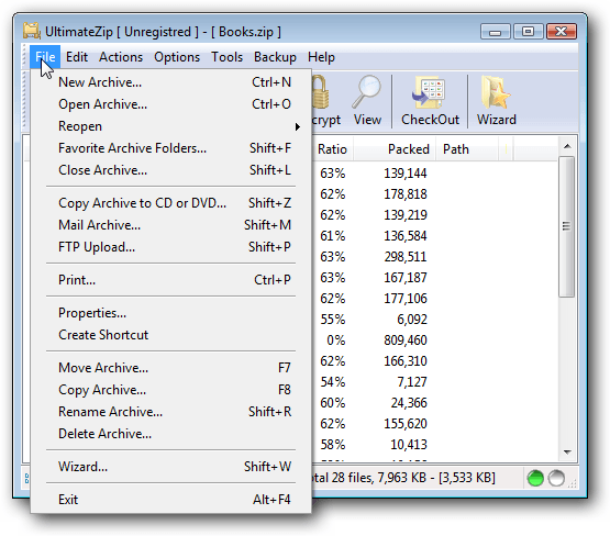 Main Window File Menu