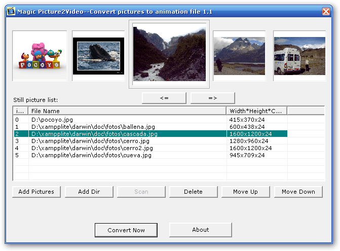 Choosing the pictures