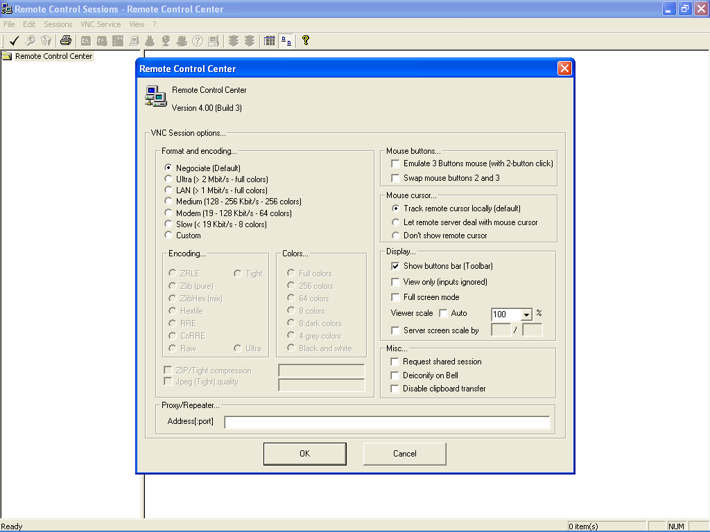 VNC Session options window