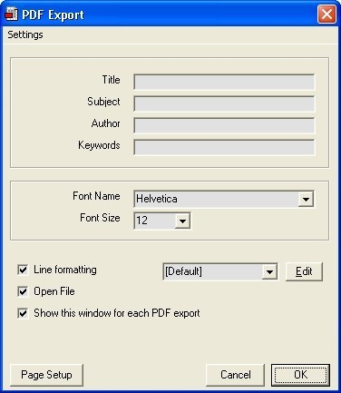 PDF export detail window
