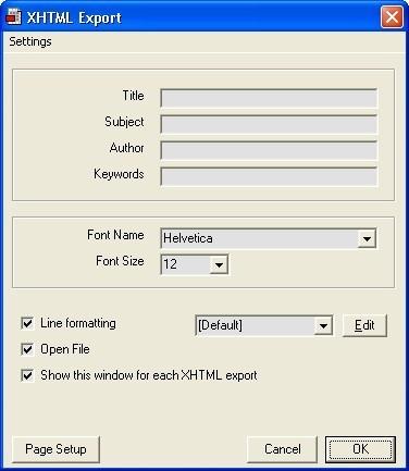 XHTML Export detail window