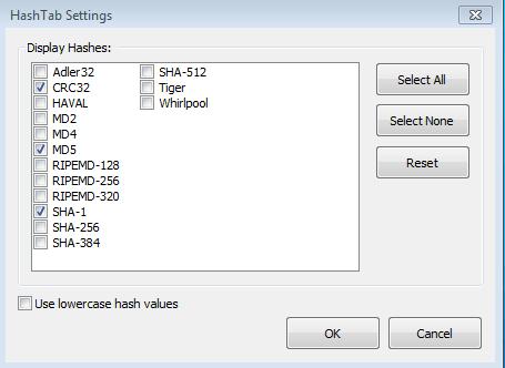 HashTab settings