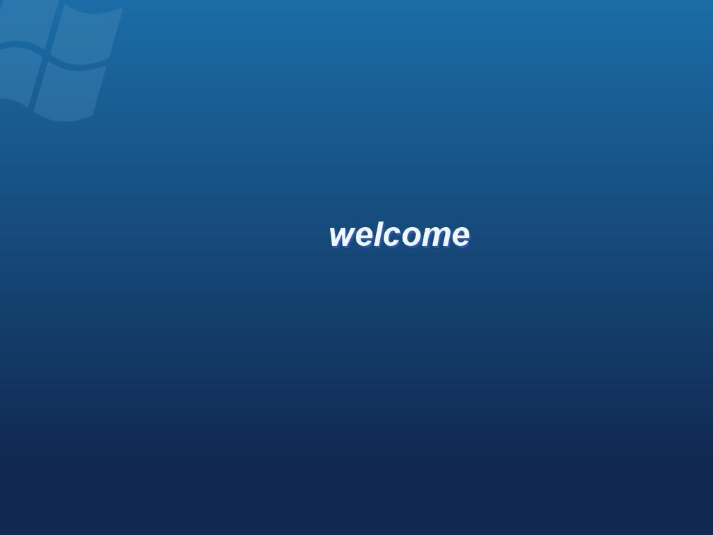 Welcome Screen after reboot