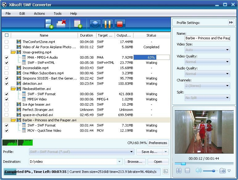 Xilisoft SWF Converter 5.1 : Main Window.