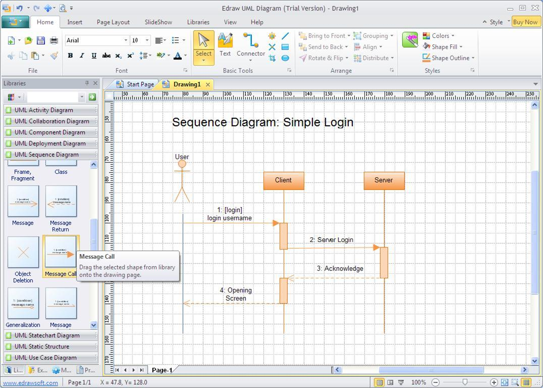 Creating a Sequence diagram from the associated stencil