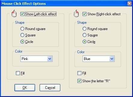 Mouse click effect options