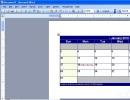 Calendar in Word