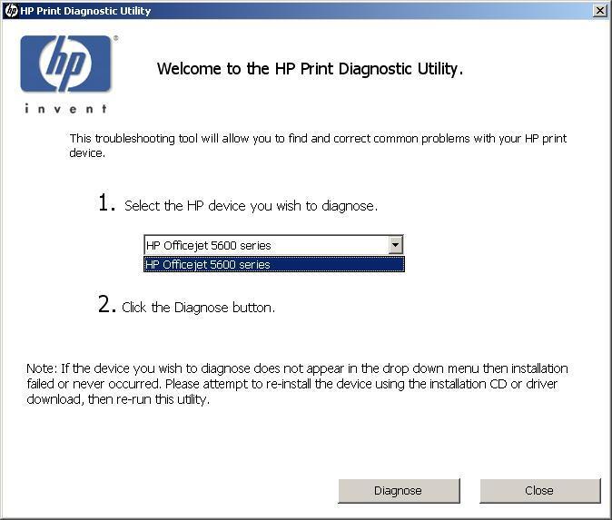 Printer Selection Screen