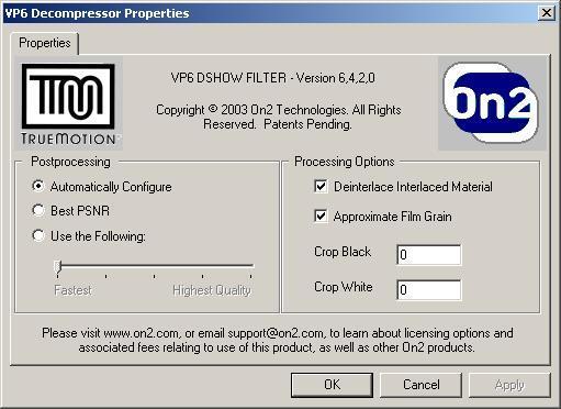 VP6 Codec Config