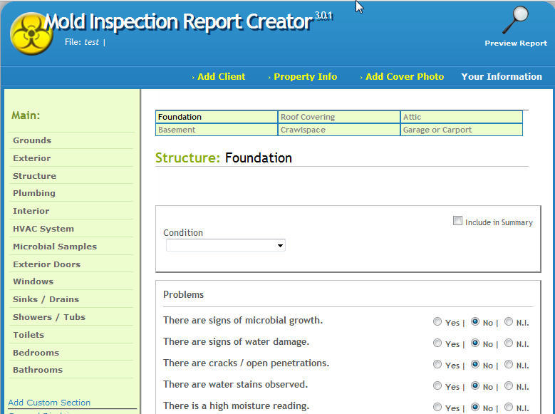 Inspection Report Software Mold Inspection Report Creator
