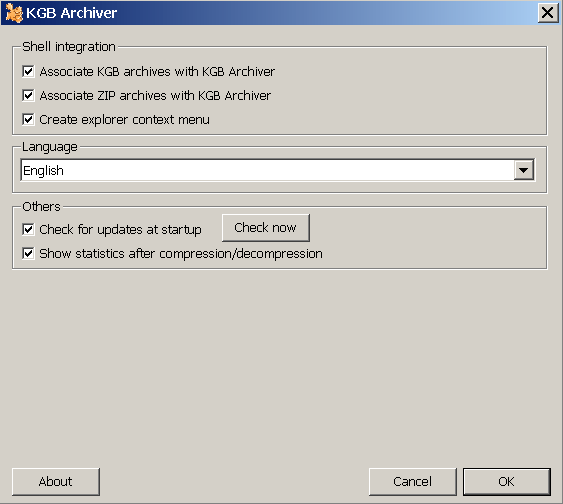 Customize options window
