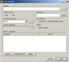 Compress file window