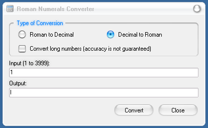 Modern Calculator: Roman Numerals Converter