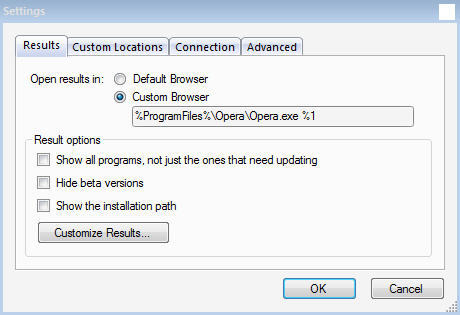 filehippo.com Update Checker Settings Window
