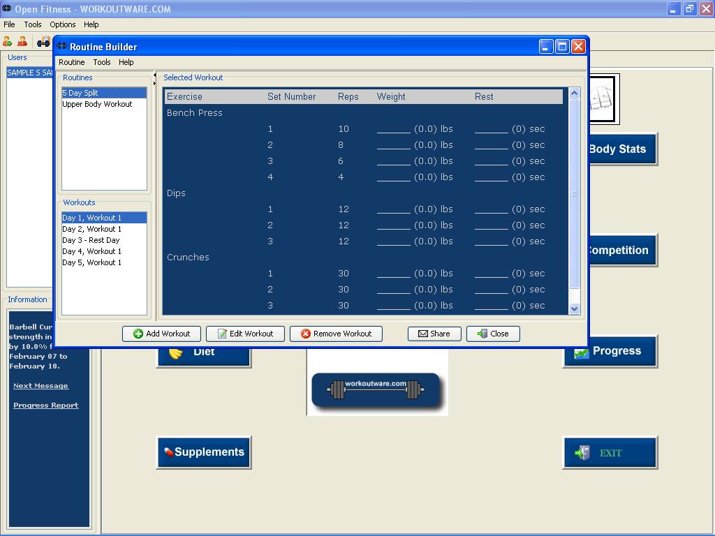 Routine builder window