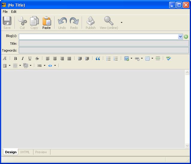 Blog writing window