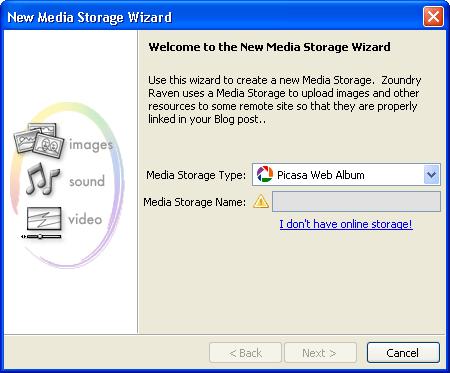 Media Storage wizard