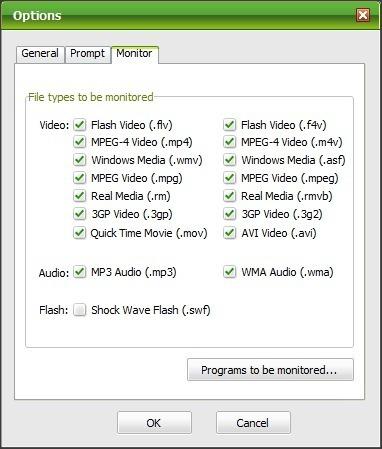 Options Window - Monitor Tab
