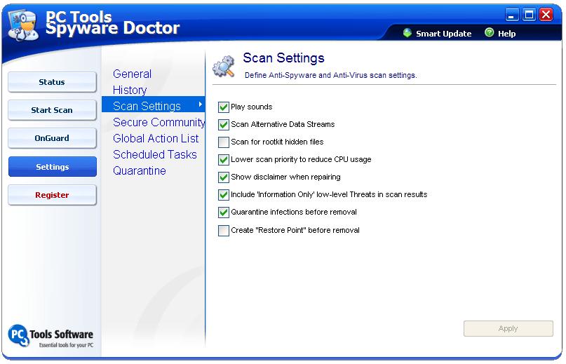 Scan settings window