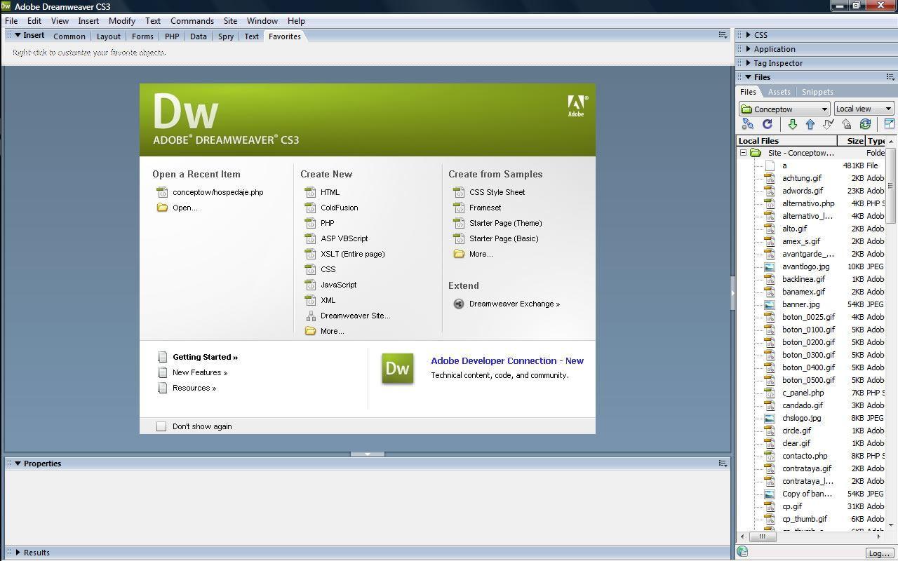 Dreamweaver main interface