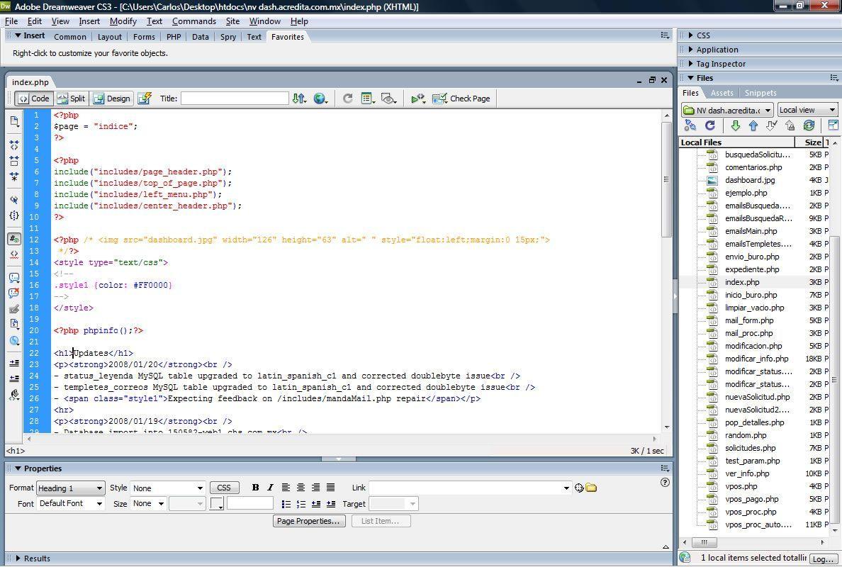 Dreamweaver coding view
