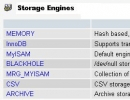Available storage engines on MySQL