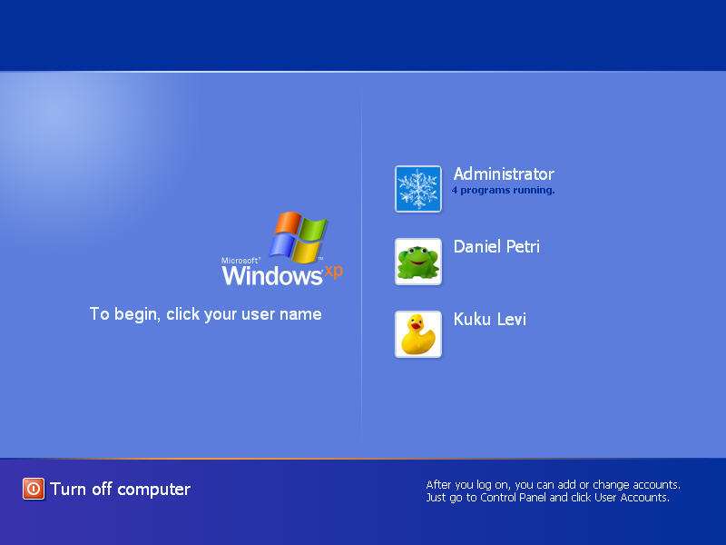 Windows XP Logon Screen