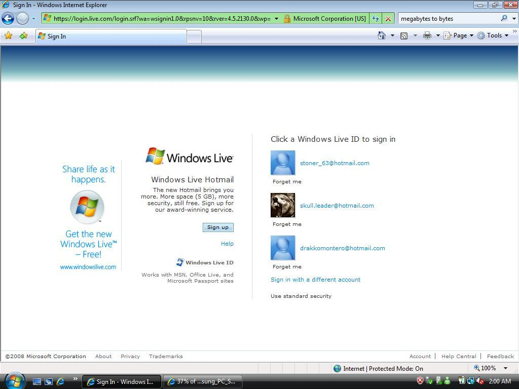 Windows Live Sign Assistant Logon Screen