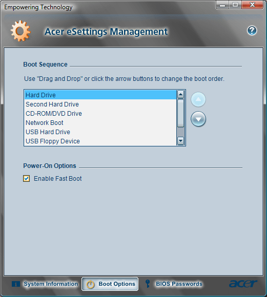Acer eSettings Boot Oprions