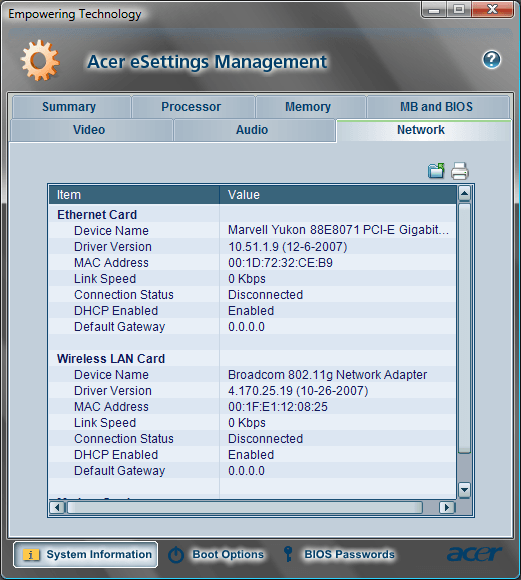 Acer eSettings Network