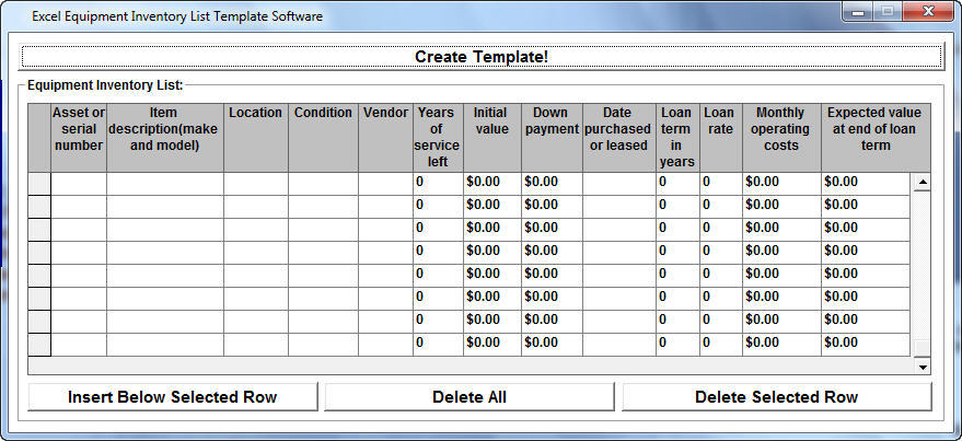 Excel Equipment Inventory List Template Software Software