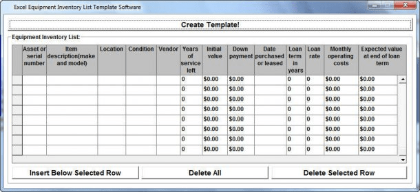 Excel Equipment Inventory List Template Software Download  This