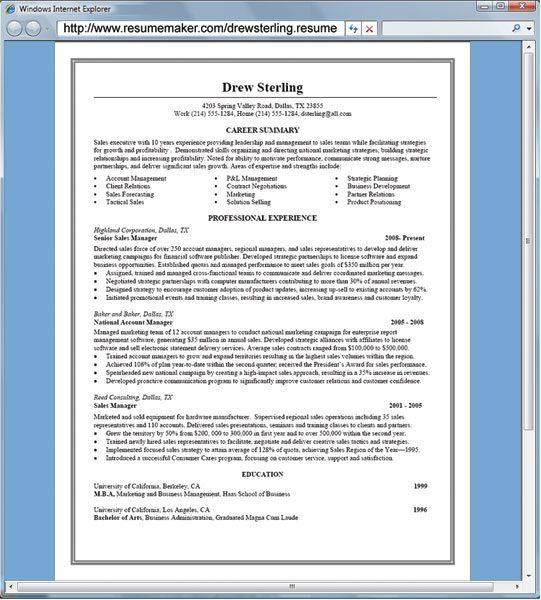 resumemaker professional software informer screenshots