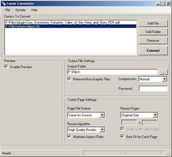 Adding Input Comic Files