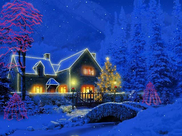 3D Christmas Cottage Animated Wallpaper 1.0 : Main screen