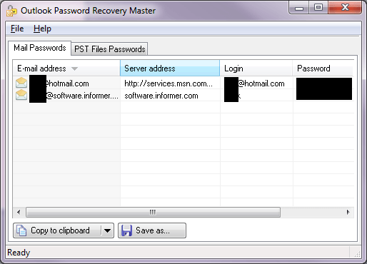 Recovered passwords